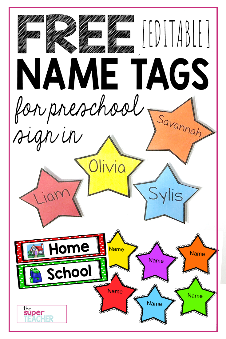 Free editable star name tags the super teacher for Preschool name tag templates